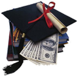 Image of a graduation hat sitting on a stack of money