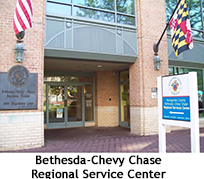 Front entrance to the Bethesda-Chevy Chase Regional Service Center