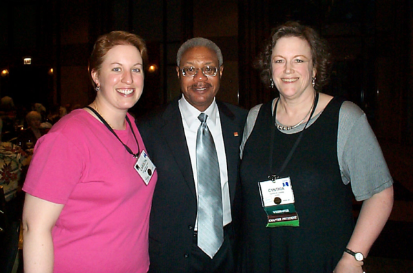 Photo of incoming, past, and current chapter presidents: Carolyn Kelley Klinger, Austin T. B town, and Cynthia A. Lockley