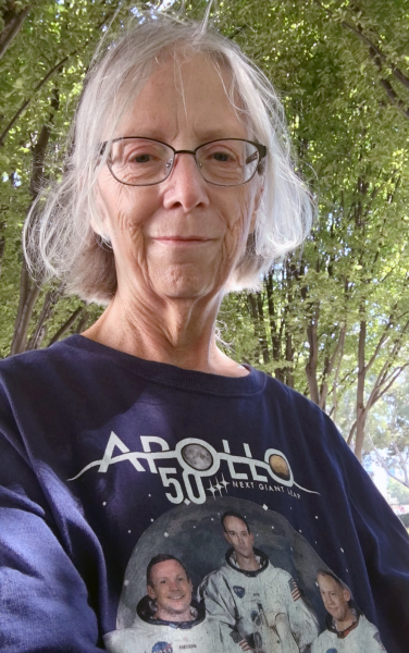 Lori Meyer with an Apollo 50 years t-shirt